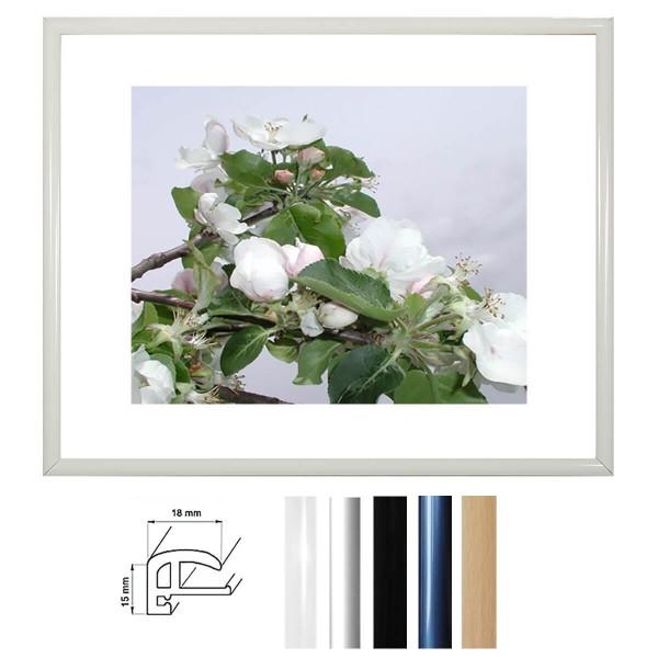 Kunststoffrahmen 18 x 24 cm, Profil 18 mm in Schwarz, Weiß, Silber und Braun