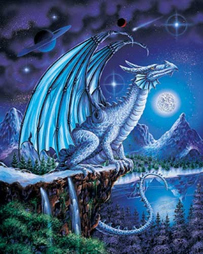 Ice Dragon/ Blauer Eis-Drache Metallic Poster