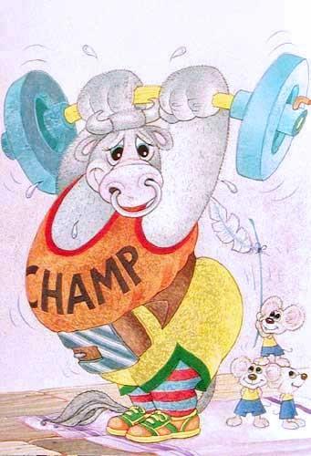 Stier beim Gewichtheben Alupostkarte