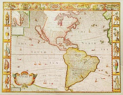 Historische Karte von Amerika 1626, Silber