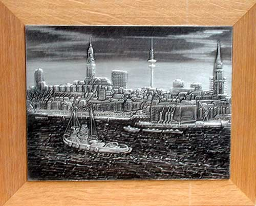 Hamburger Hafen Zinnrelief