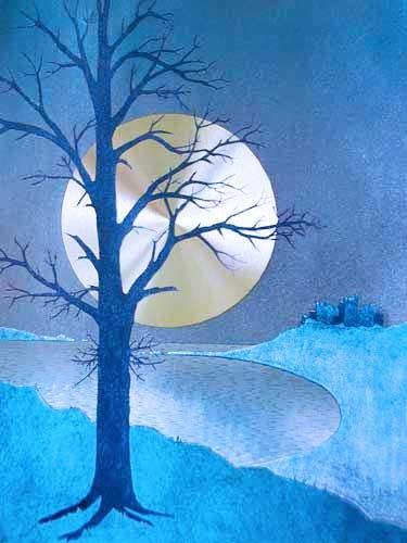 Vollmondnacht mit Baum links, Alubild 21x26