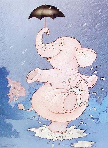 Elefant und Regenschirm by Simon