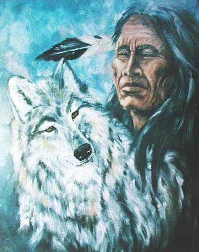 Indianer und Wolf Poster 40x50
