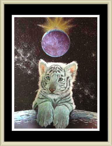 Weißer Tiger im All