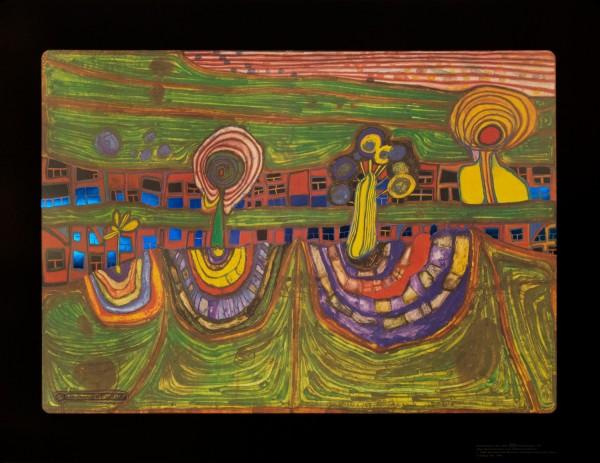 Downtownlane Hundertwasser Kunstdruck