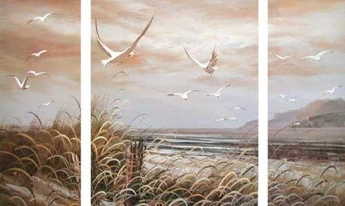 Seeblick mit See-Möwen, Triptychon