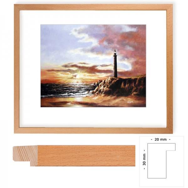 Wandbild Leuchtturm mit Buchenholz-Rahmen