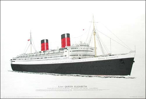 Liner Queen Elisabeth 1940 Lithographie/ Poster