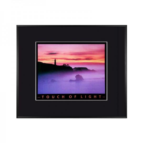 Leuchtturm bei Sonnenaufgang / Sonnenuntergang Wandbild Bild gerahmt