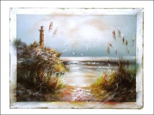 Seeblick mit Leuchtturm Kunstdruck