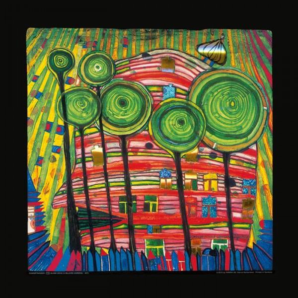 Dingsdas wachsen in geliebten Gärten, Hundertwasser Kunstdruck