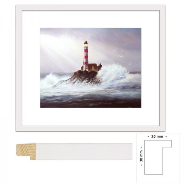 Wandbild Leuchtturm im Sturm mit Holzrahmen
