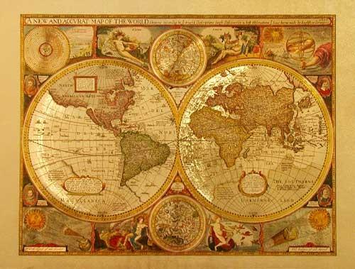 Kleine Historische Weltkarte 1651 gold Aluminium Druck