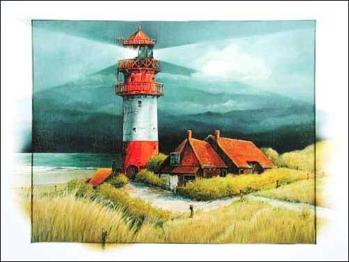 Rot-weißer Leuchtturm unter Beleuchtung Poster