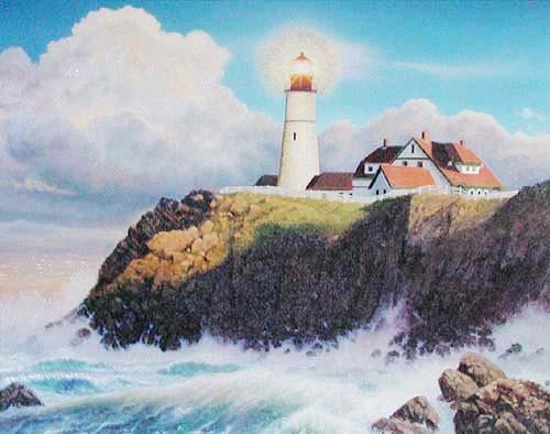 Weißer Leuchtturm unter Beleuchtung Dufex Alubild