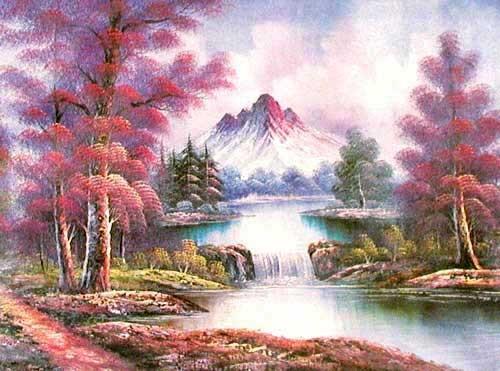 Berglandschaft mit Fluss und kleinem Wasserfall Alubild