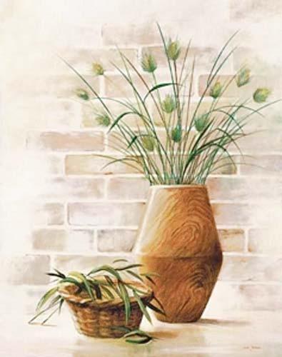 Stilleben, Blumen in Holzvase