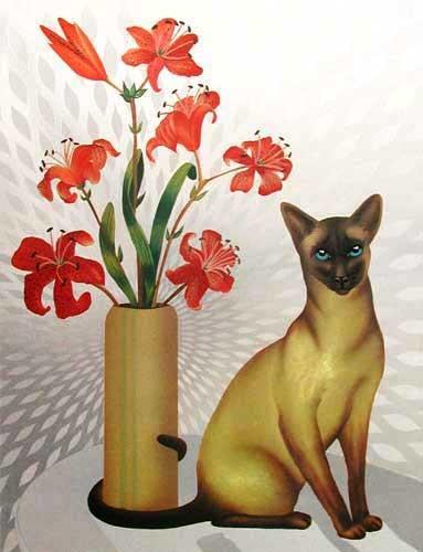 Katze und Lilien
