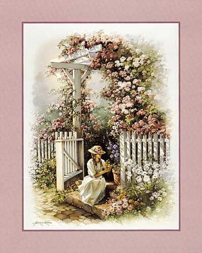 Blühender Garten, Orpinas Kunstdruck 20x25