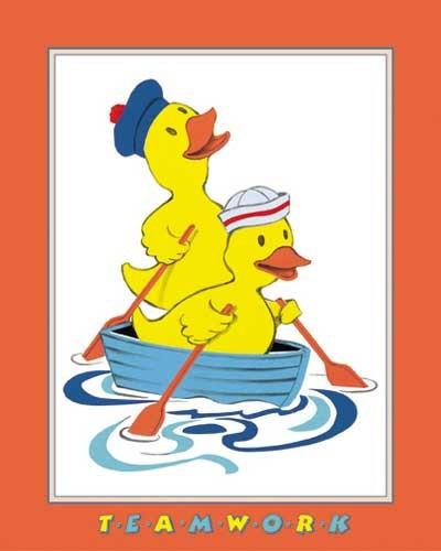 Zwei Entchen im Boot- Kunstdruck 20x25 cm