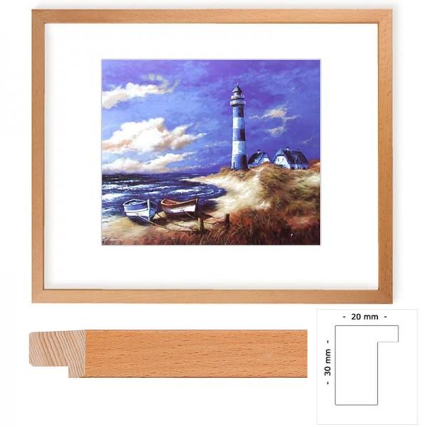 Wandbild Blau-weißer Leuchtturm II mit Holzrahmen