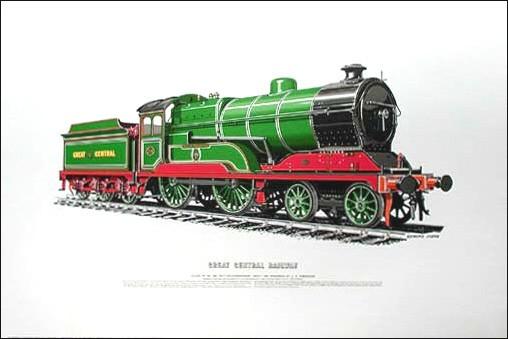 Dampflokomotive, Dampfeisenbahn vom 1919- Lithographie 40x50