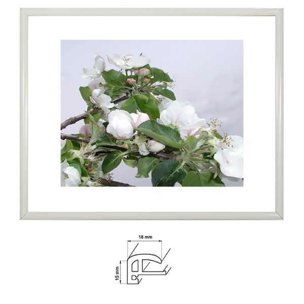 Bilderrahmen 10x20 cm, weiß glanz