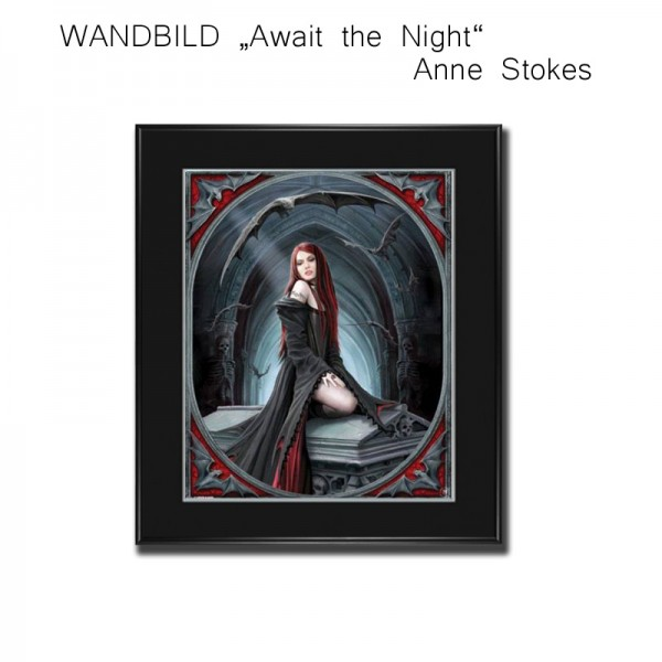 Wandbild, Bild Await the Night, Anne Stokes Bild gerahmt