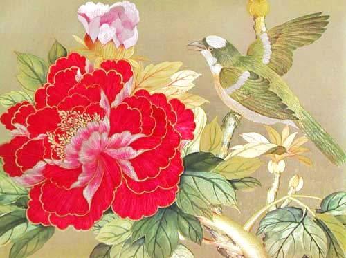 Vogel und rote Blume