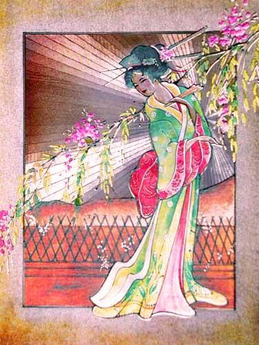 Japanerin in Kimono Alu Bild