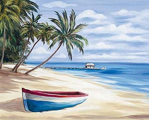 Tropischer Strand mit einem Boot Poster