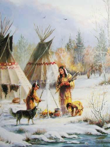 Indianerdorf im Winter by Marianne Caroselli