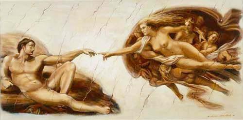 Creation of Adam nach Michelangelo by Groeneveld