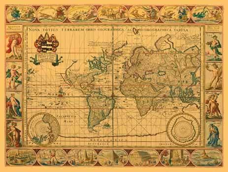 Historische Weltkarte von Pitt in goldener Farbe