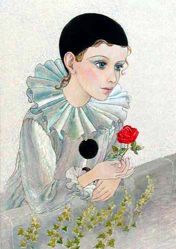 Pierrot with Rose on Balcony