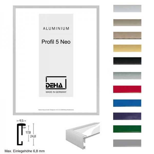 Aluminium Bilderrahmen 90 x 90 cm - quadtarisch DEHA Profil V