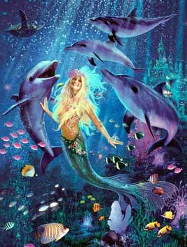 Delfine und Meerjungfrau Alu Bild