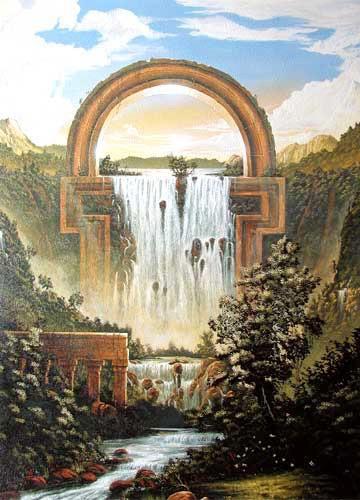 Fantastische Landschaft mit Wasserfall, Huber- Kunstdruck