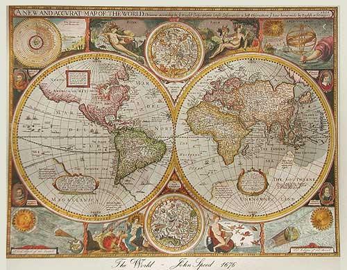 Historische Weltkarte von 1676, Silber - Aludruck 21x26 cm