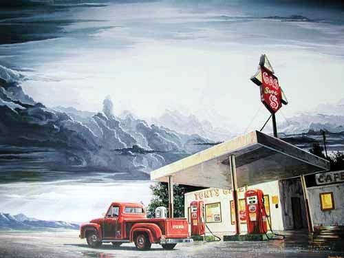 Gas-Tankstelle und Ford Pick up Poster