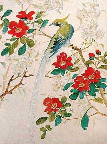 Vogel auf Zweig silber
