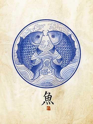 Fische -Asiatische Kunst- Kunstdruck