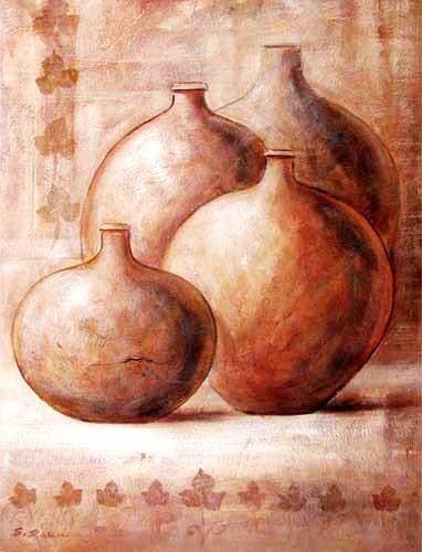 Stillleben, Vier Terracotta Krüge Kunstdruck