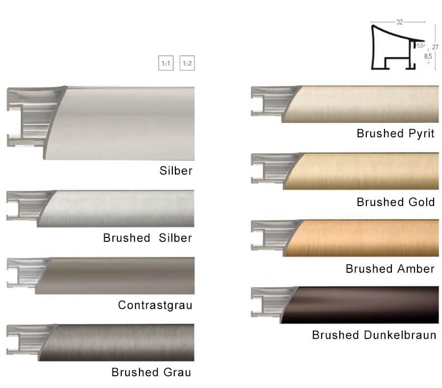 nielsen alurahmen 80x120 cm brushed silber profilbreite 32 mm. Black Bedroom Furniture Sets. Home Design Ideas