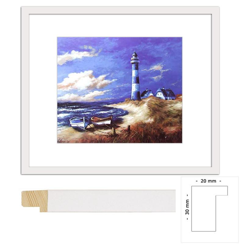 Wandbild Blau-weißer Leuchtturm II mit weißem Holzrahmen 86 x 66 cm
