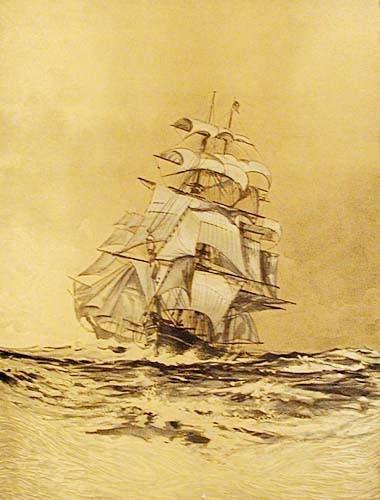 Segelschiff Gold Alu Druck