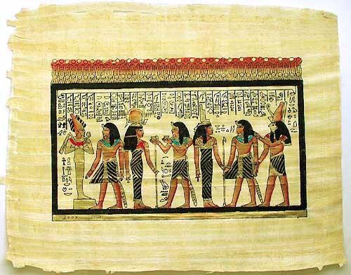 Papyrusbild, Ägyptische Götter