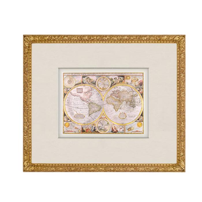 Wandbild: Historische Weltkarte aus dem Jahr 1651 im antiken ...
