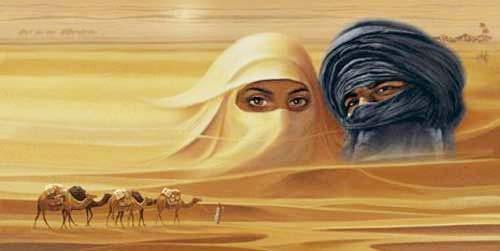 Tuareg, Wüstentraum mit Karavane Kunstdruck